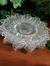 4 FEDERAL GLASS IRRIDESCENT PETAL PATTERN  Dessert Bread 6 1/2 inch plates