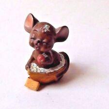 Vintage Josef Original Mouse Figurine In the Bathtub Taking a Bath