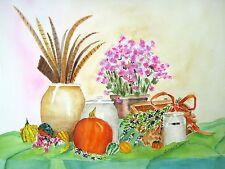 Pheasant Feathers and Beauty Berries, Autumn, Still Life,crocks,gourds, pumpkins