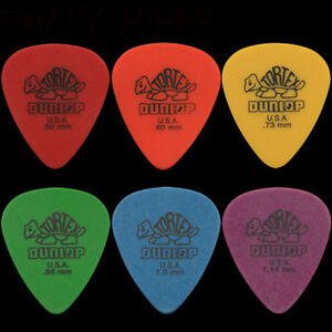 6 Dunlop Tortex Standard Guitar Picks - 1 Of Each Type