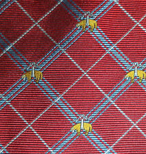 Brooks Brothers Great! Golden Lamb Sheep Red Plaid Silk Neck Tie
