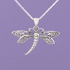 "925 Sterling Silver ""Dragonfly (Filigree)"" 18""/20"" Pendant   A213"