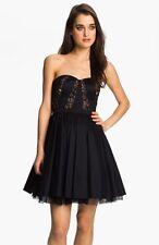 Aidan Mattox Strapless Lace Trim Taffeta Dress Black Size 8