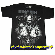 Kingpin Clothing Raider Babe Graphic T-Shirt Logo Design Printed On Back New
