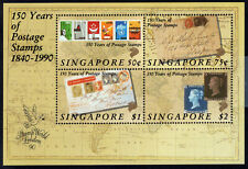 Singapore Scott #566a S/S of 4 - First Postage Stamps  - 1990 - MNH