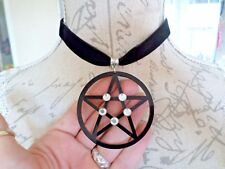 LARGE Diamante Pentacle Black Velvet Choker Collar Necklace Pagan Gothic Witch