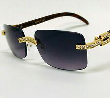 Men Sunglasses Square Fashion Retro Style Designer Rimless Diamond Gold Migos