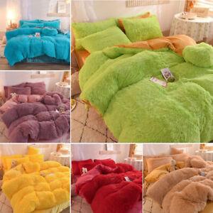 4pcs Luxury Warm Shaggy Fleece Quilted Duvet Cover Bedding Set Sheet Pillow Case