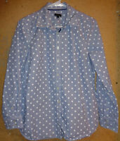 Talbots Blue Striped White Polka Dot Long sleeve Cotton Button Up Shirt Medium