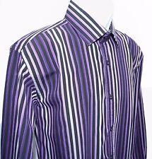 ENGLISH LAUNDRY Mens Shirt Christopher Wicks Purple / Black Striped - 16 1/2