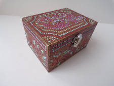 Small decoupage box wooden keepsake box cozy modern abstract ornament