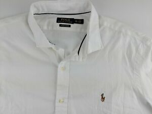 NEW Ralph Lauren Luxury Oxford Men 2XL White Dress Shirt Long Sleeve N2
