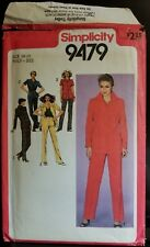 Vintage 1980 Simplicity Sewing Pattern #9479, Jacket and Pants, Size 14 1/2
