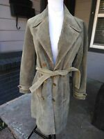 Wilsons Women Med Leather Maxima Belted Suede Jacket Coat Soft Heavy Olive Green