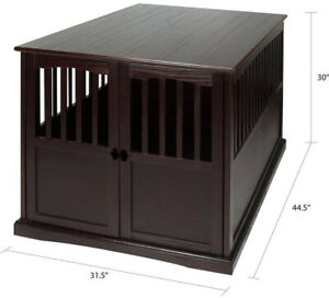 Indoor Wood Extra Large Dog Crate End Table House Big Dogs Cage Kennel Furniture