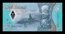 B-D-M Islas Cook Islands 3 Dollars 2021 Pick New Polymer SC UNC