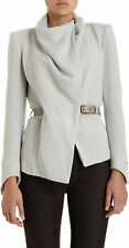 HELMUT LANG Sonar Drape Funnel Neck Wool Leather Belted Cardigan / Jacket 2 XS
