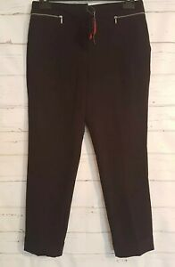 BNWT Size 12 Trousers BLACK Zip Pockets DEFINITIONS Work Office Women's Tapered