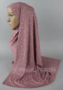 Semi Maxi  Cotton  Jersey Hijab Scarf Muslim Headcover Pearl Stones 170X70 CM