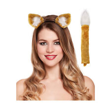 Foxy Fancy Dress Dressing Up Ears Tail Fantastic Mr Fox Unisex Costume Outfit
