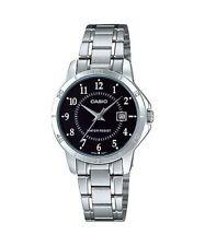 Casio Women's Silvertone Bracelet Watch, Black Dial, Date, LTP-V004D-1B