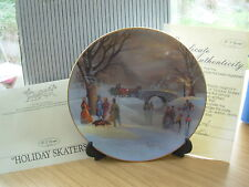HOLIDAY SKATERS SCENES OF CHRISTMAS PAST CHINA PLATE BOXED CERTIFIC W GEORGE 12