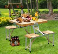 Outsunny Wooden Portable Folding Camping Picnic Table BBQ Chairs Stools Set