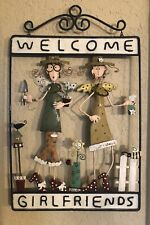 Vintage Welcome Girlfriends Metal Wall Patio Art Sign