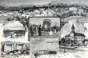 Pueblo Colorado 1888 ADOBE HUTS HIGH SCHOOL BIG TREE ARKANSAS RIVER Art Print