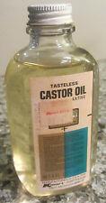 Vintage Kmart 4oz Glass Castor Oil Bottle w/ Metal Screw lid..a