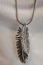Neu Damen Halskette Feder Lang Strass Silber Kette  Anhänger NICKELFREI