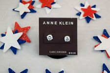 Womens Anne Klein Silver-Tone Crystal Stud Earrings