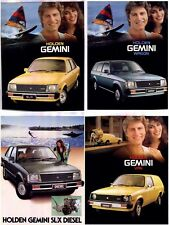 Four 1980-81 HOLDEN TE GEMINI SEDAN WAGON VAN & DIESEL 2p Brochure Sheets