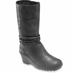 Keen Women's 8.5 Akita Black Leather Mid Calf Slouch Wedge Boots Pull On Lined