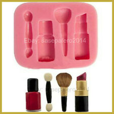 Makeup theme silicone mold 4 cavities for fondant, chocolate, resin, clay