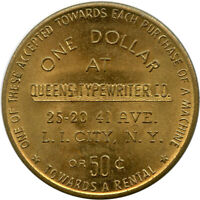 Queens Typewriter Co. Long Island City, New York NY $1 Towards Purchase Token