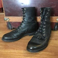 JUSTIN ROPER Ankle Boots Womens Sz 7D Kiltie Western Lace Up Black Leather USA
