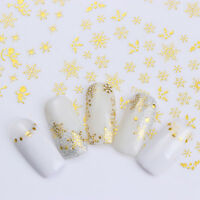 12 Patterns Gold Snowflake Nail 3D Sticker Adhesive Nail Art Transfer Sticker