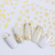 Gold Snowflake 3D Decals 12 Patterns Manicure Nail Art Adhesive Transfer Sticker
