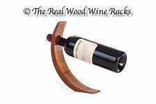 Alder Wood Wine Bottle Holder, Stand Balancing a Single Wine Bottle