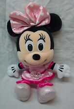 "Walt Disney SPARKLEY MINNIE MOUSE IN PINK DRESS 10"" Plush STUFFED ANIMAL"