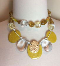 """15-20"""" Long CHICOS Yellow & Gold Glass Beaded $48 NWT Necklace 2-Strand Signed"""