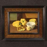 Dipinto quadro stile antico natura morta firmata olio su tavola con cornice 900