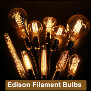 1/6/10 Pack E27 B22 E14 Vintage Edison Glass Bulbs Industrial Filament 25/40/60W