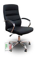 Poltrona SKY di design cromata da ufficio scrivania e studio in ecopelle nero