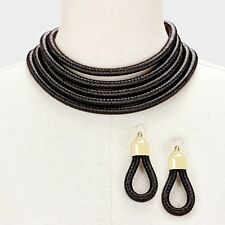 Sassy Chunky Black H&M Balmain Style 5 Layer Coil Choker Statement Necklace Set