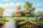 Italian Farm Home River Sheep Spring Day Trees 24X36 Oil Painting STRETCHED