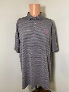 Peter Millar Summer Comfort men's gray/pink striped polo golf shirt size Large