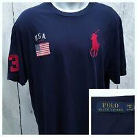 POLO RALPH LAUREN 1XB SHORT SLEEVE T TEE SHIRT BIG PONY USA FLAG #3 NAVY BLUE