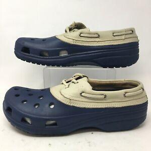 Crocs Men 12 Islander Pit Crew Sport Clog Boat Shoes Blue Croslite Leather 2 Eye